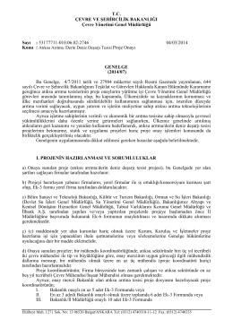 Atıksu Arıtma / Derin Deniz Deşarjı Tesisi Proje Onayı Genelgesi