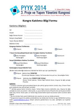 Kongre Katılımcı Bilgi Formu