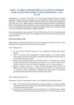 doğu anadolu projesi bölge kalkınma idaresi başkanlığı sözleşmeli
