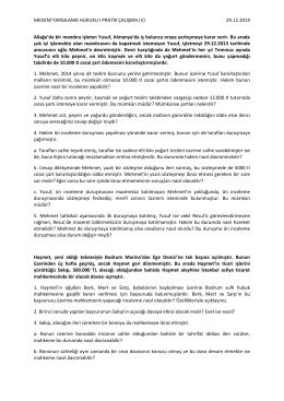 medeni yargılama hukuku ı pratik çalışma (26.12.2014)