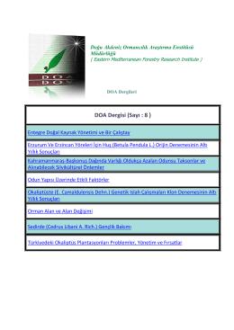 DOA Dergisi (Sayı : 8 ) - Batı Karadeniz Ormancılık Araştırma