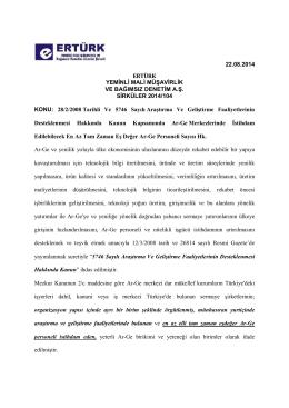 104-28.02.2008 Tarihli Ve 5746 Sayılı Araştırma Ve Geliştirme
