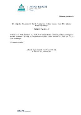 2014-58 2014/Ağustos Dönemine Ait Ba-Bs