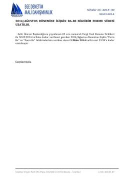 2014/ağustos dönemine ilişkin ba-bs bildirim formu süresi uzatıldı.