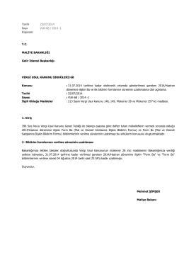 Tarih 25/07/2014 Sayı VUK-68 / 2014