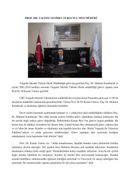 Prof.Dr.M.Kenan YALINIZ yeniden Turgutlu MYO müdürü.(04.12.2014)