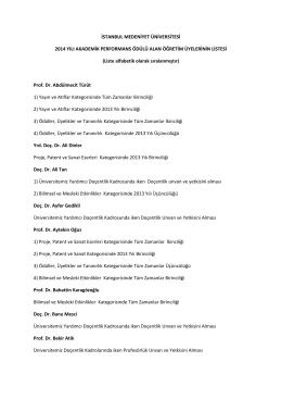 2014 Yılı Akademik Performans Ödülü Alan Öğretim Üyelerinin