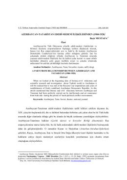 AZERBAYCAN-TATARİSTAN EDEBÎ-MEDENİ İLİŞKİLERİNDEN