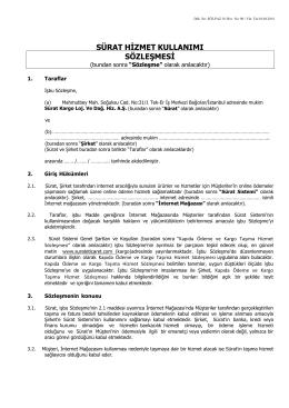 sürat hizmet kullanımı sözleşmesi