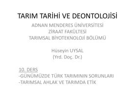 tarım tarihi ve deontolojisi - Adnan Menderes Üniversitesi