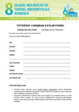 Fotoğraf Yarışması Kayıt Formu