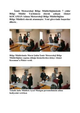 İzmir Meteoroloji Bölge Müdürlüğünde