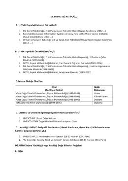 A. UTMK Dışındaki Mevcut Görev/ler/i : 1. DSİ Genel