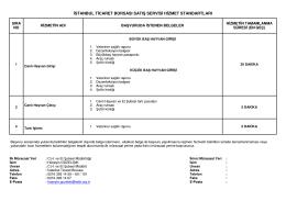 istanbul ticaret borsası satış servisi hizmet standartları