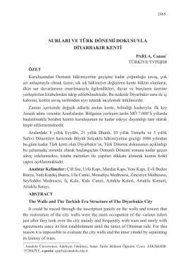 surları ve türk dönemi dokusuyla diyarbakır kenti