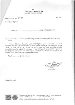 1 8 Şubat 2014 - tarsus ilçe millî eğitim müdürlüğü
