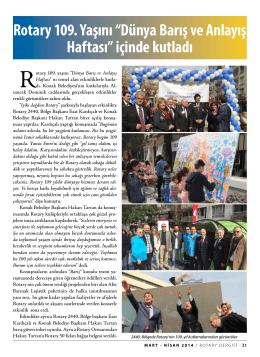 """Rotary 109. Yaşını """"Dünya Barış ve Anlayış Haftası"""