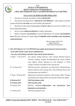 2014-2015 Ede Staj Takvimi - Düzce Üniversitesi Düzce Meslek