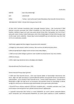 24.09.2014 ÜNİTESİ : Satın Alma Müdürlüğü SAYI