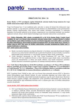 sırk-14-24 banka ve ptt aracılığıyla yapılan ödemeler hk