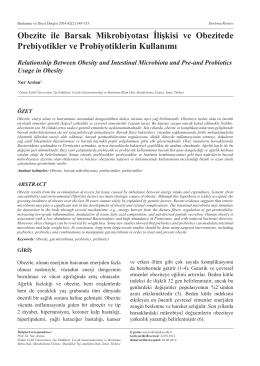 Obezite ile Barsak Mikrobiyotası İlişkisi ve Obezitede Prebiyotikler