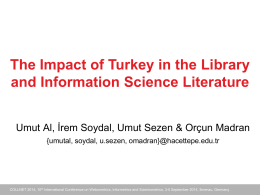 The Impact of Turkey in the Library and Information Science Literature