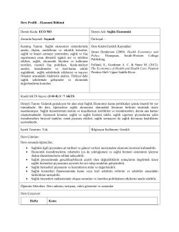 Ders Profili – Ekonomi Bölümü Dersin Kodu: ECO 583 Dersin Adı
