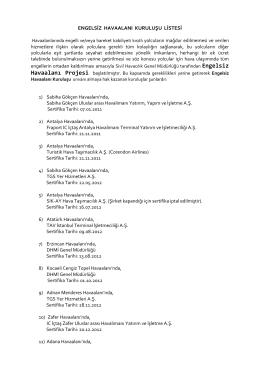 engelsiz havaalanı kuruluşu listesi