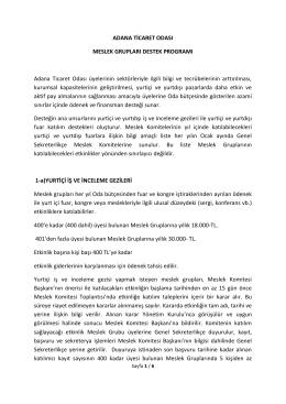 ADANA TİCARET ODASI MESLEK GRUPLARI DESTEK