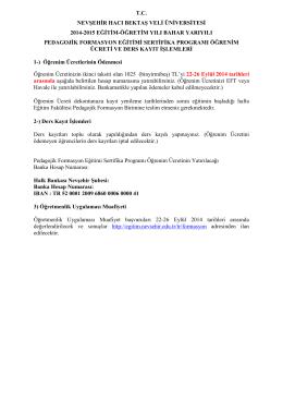 tc nevşehir hacı bektaş veli üniversitesi 2014-2015 eğitim