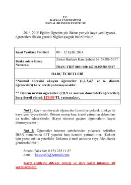 2014-2015 Eğitim-Öğretim yılı Bahar yarıyılı kayıt yenileyecek