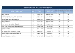 KalDer BURSA Şubesi 2014 2.yarı Eğitim Programı