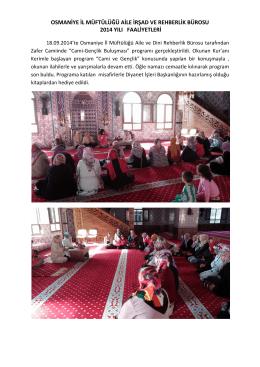 2014 yılı aile ve dini rehberlik bürosu faaliyetleri 1