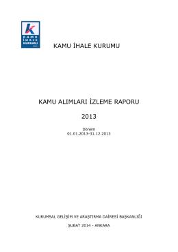 kamu ihale kurumu kamu alımları izleme raporu 2013