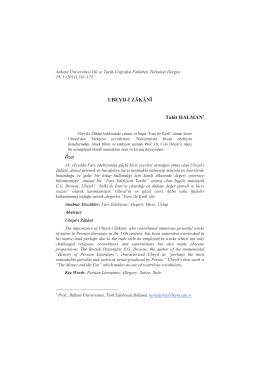 UBEYD-İ ZÂKÂNÎ Talât HALMAN - Ankara Üniversitesi Dergiler