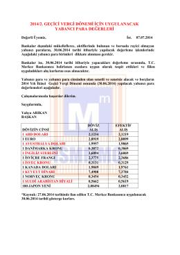 2014/2. geçici vergi dönemi için uygulanacak yabancı para değerleri