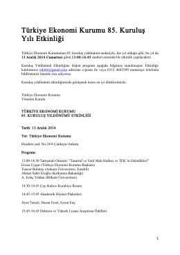 Türkiye Ekonomi Kurumu 85. Kuruluş Yılı Etkinliği