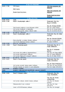 08.30 - 17.00 USG kursu EKG kursu Kanıta dayalı tıp kursu USG