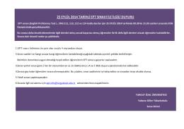 25 eylül 2014 tarihli ept sınavı ile ilgili duyuru