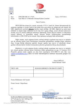 Sayı : TİM.EÎB.GSK.05.1/7629 İzmir, 07/07/2014 Konu : Taze Meyve