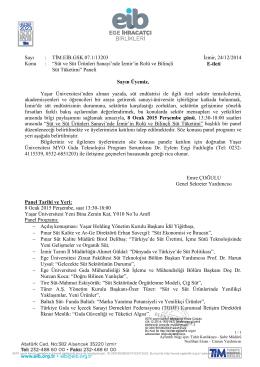 """Sayı : TİM.EİB.GSK.07.1/13203 İzmir, 24/12/2014 Konu : """"Süt ve Süt"""