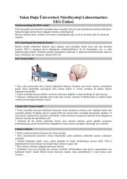 Yakın Doğu Üniversitesi Nörofizyoloji Laboratuarları EEG Ünitesi