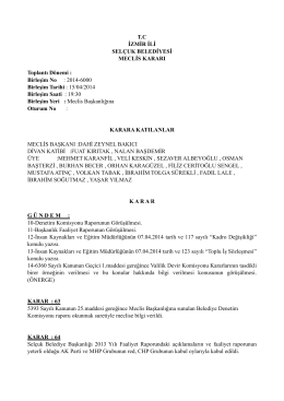 Nisan Ayı 2. Oturum Meclis Toplantısı 2014