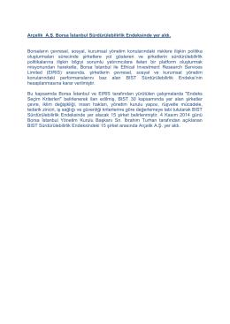 Arçelik A.Ş. Borsa İstanbul Sürdürülebilirlik Endeksinde yer aldı