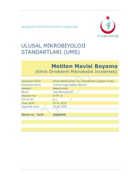 Metilen Mavisi Boyama - Türkiye Halk Sağlığı Kurumu