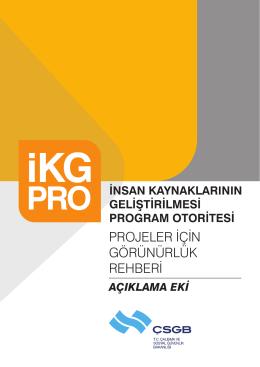 IKG-PRO Projeler için Görünürlük Rehberi Açıklama Eki