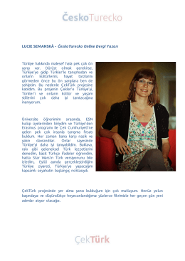 LUCIE SEMANSKÁ - ČeskoTurecko Online Dergi