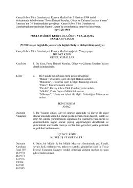 Posta Dairesi Kuruluş, Görev ve Çalışma Esasları Yasası