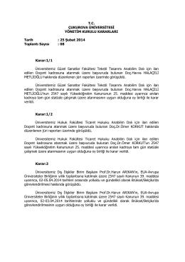 25.02.2014 Tarihli Yönetim Kurulu Kararları