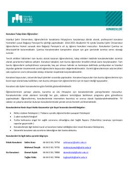 Konukevi Talep Eden Öğrenciler: İstanbul Şehir Üniversitesi